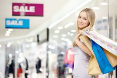 Smiling shopping woman Stock Photo