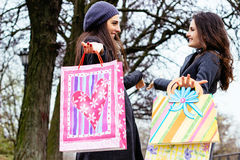 Smiling shopping women with bags Stock Photo