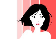 Smiling short haired woman. A monochrome short haired woman royalty free illustration