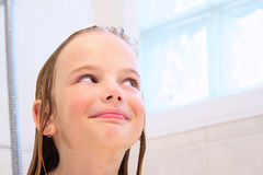 Smiling in the shower Royalty Free Stock Photos
