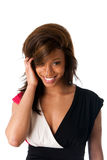 Smiling shy African woman stock images