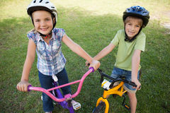 Smiling siblings riding bicycles at park Royalty Free Stock Photos