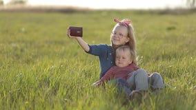 Smiling siblings taking selfie in the meadow stock footage