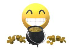 A smiling simile icon behind a filled black pot of gold coins stock image