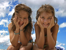 Smiling sisters Royalty Free Stock Photo