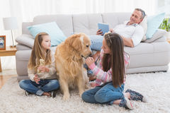 Smiling sisters petting their golden retriever on rug Royalty Free Stock Images