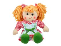 Smiling sit Cute rag doll isolated. On white Royalty Free Stock Image