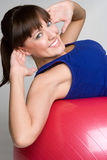 Smiling Situps Girl. Healthy fit situps girl smiling Stock Photos