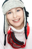Smiling skier isolated on white. Beautiful smiling woman wearing gogle Royalty Free Stock Photography