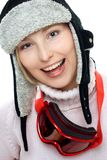 Smiling skier woman. Isolated on white background Royalty Free Stock Image
