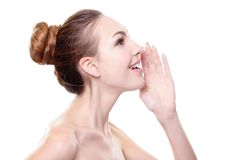Smiling Skin care woman whisper Stock Image