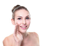 Smiling Skin care woman whisper Royalty Free Stock Photos