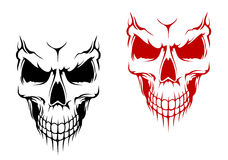 Smiling skull. In black and red versions for t-shirt or halloween design