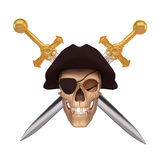 Smiling skull covered with black cap and two sword Royalty Free Stock Images