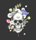 Smiling Skull and Flowers Day of The Dead, Black Fashion illustration. Vector. Stock Image