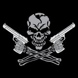 Smiling skull with guns Royalty Free Stock Photography