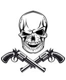 Smiling skull with revolvers Royalty Free Stock Images