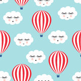 Smiling sleeping clouds and hot air balloons seamless pattern. Stock Images
