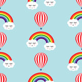 Smiling sleeping clouds, rainbows and hot air balloons seamless pattern. Stock Image
