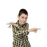 Smiling sly boy gesturing with hands Royalty Free Stock Photo
