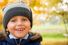 Smiling small boy in autumn Stock Images