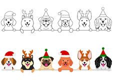 Smiling small dogs with Christmas costumes border set. Set of small dogs border with and without colors, cute cartoon dogs with Christmas costumes in a row vector illustration