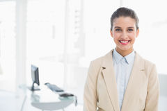 Smiling smart brown haired businesswoman looking at camera Royalty Free Stock Photo