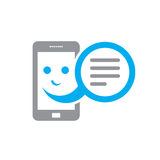 Smiling smartphone and message box - vector sign concept illustration. Telephone icon. Design element Stock Photo