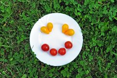 Cheerful smiley from  tomato on a round white plate. stock image