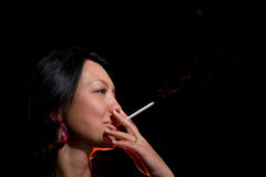 Smiling, smoking, lighting Stock Photos