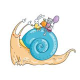 Smiling snail with bunny and kitten on his back. Hilarious tea. Vector illustration Stock Photography