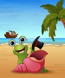 Smiling snail cartoon on the beach Stock Photography