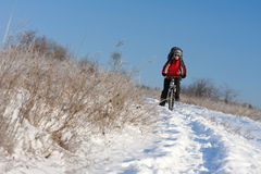 Smiling snow biker Royalty Free Stock Photo