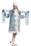 Smiling snow maiden with tinsel Royalty Free Stock Photos