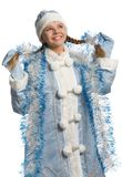 Smiling snow maiden with tinsel Stock Image