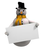 Smiling snow man. On the white background Royalty Free Stock Images