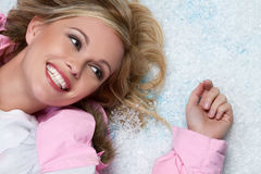 Smiling Snow Woman Stock Images