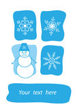 Smiling snowball and snowflakes Stock Photos