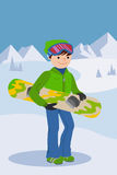 Smiling snowboarder man in winter ski sportswear, helmet and goggles standing with snowboard in hand. Vector Stock Photos