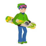 Smiling snowboarder man in winter ski sportswear, helmet and goggles standing with snowboard in hand. Vector Royalty Free Stock Images