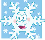 Smiling Snowflake Cartoon Mascot Character royalty free illustration