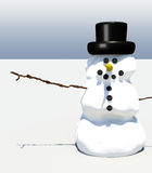 Smiling snowman. Illustration against simple background with whitespace Royalty Free Stock Photo