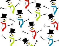 Smiling Snowman Background. A background pattern featuring a variety of casually arranged snowmen figures wearing hats and scarves in different colors Stock Images