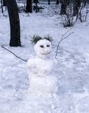 Snowman in forest Stock Photos