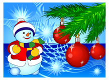 Smiling snowman in blue Stock Photos
