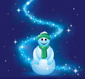 Smiling snowman in bright stars. Stock Image