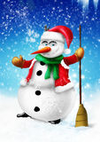 Smiling snowman with broom and green scarf Royalty Free Stock Image