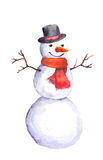 Smiling snowman with carrot, top hat and red scarf Royalty Free Stock Photos