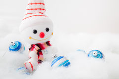 Smiling snowman with christmas ball Royalty Free Stock Photo