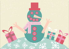 Smiling snowman with Christmas gifts. Vector illustration in a flat design. Smiling snowman with Christmas gifts. Postcard for Christmas and New Year. Vector Stock Image